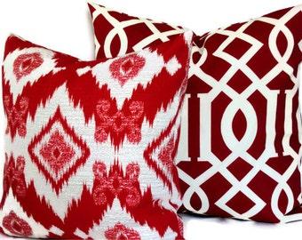 Richloom Solarium Decorative Pillow,18x18, 20x20, 12x20, Throw Pillow, Accent Pillow, Calypso Red Ikat Pillow