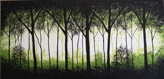 """SHERWOOD FOREST- Original acrylic textured painting,Black and Green base color, size 24"""" X 48"""" X 3/4"""""""