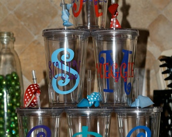 Personalized acrylic cups with initial and name
