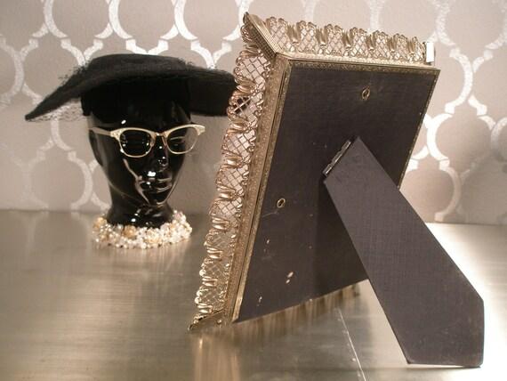 VINTAGE MIRROR Vanity Tray with Filigree Frame