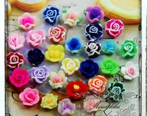 25 PCS Small Flower Mix Cabochons Tiny Rose Assorted Cabochons Polymer Clay Cabochons Flatback Mini Rose Nail Art Cabochon Decoden Supply