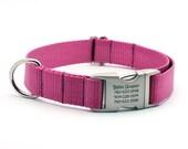 Laser Engraved Personalized Buckle Webbing Dog Collar - ROSE