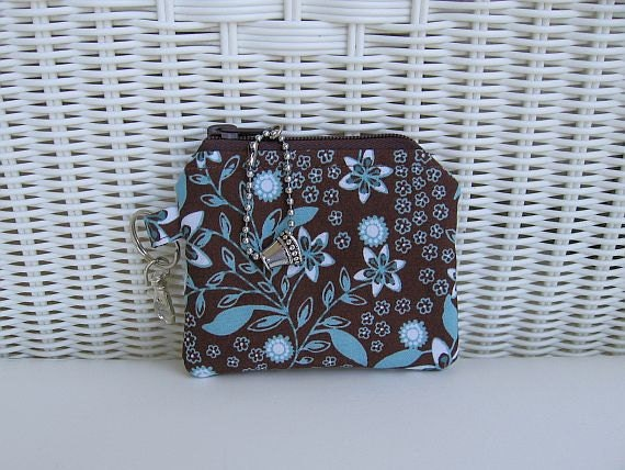 Coin Purse / Padded Change Purse / Brown & Turquoise
