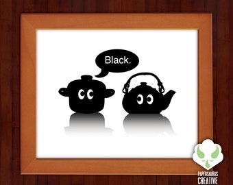 Print: Pot calling the kettle black — humor, idiom, saying, illustration