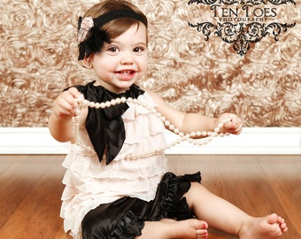 Blush Pink, White, or Red Ruffles and Black Satin Tie Swing Top with Bloomers