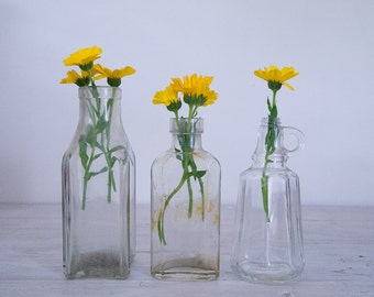 vintage clear glass apothecary bottle collection