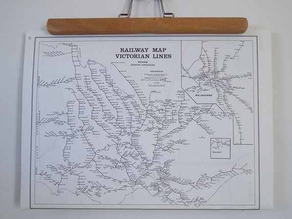 vintage map of victorian railway lines