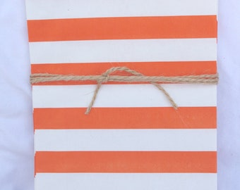 MeDiUM STRiPe PaTTerN PaPER BAGs-- Orange--party favors--gifts---weddings--showers--20ct