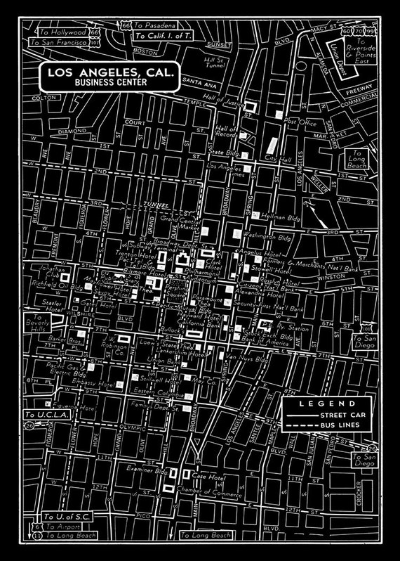 1949 Vintage Map Of Downtown Los Angeles 11x17 Black Print: Los Angeles Map Print At Infoasik.co