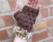 """Brown """"nut pattern"""" fingerless gloves with pale gold faux fur trim - one size - autumn/winter/Christmas/gift/women/teens"""