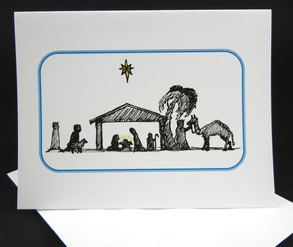 Clearance--Christmas Card, Nativity Drawing Christmas Card, Christian Christmas Card