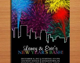 Fireworks in the City /  New Years Eve DIY Customized Printable Party Invitations