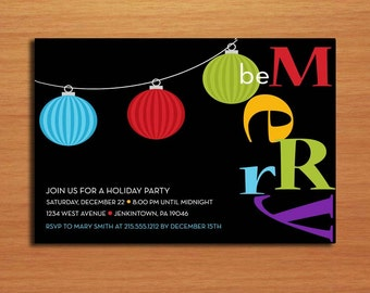 Colorful Ornaments / Customized Printable Christmas Party Invitations /  DIY