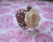 Antique Copper Rose Ring