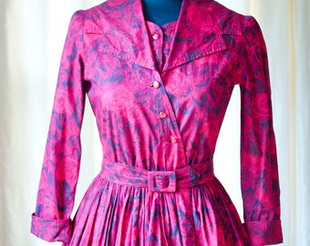 1950s Red Painted Rose Romance Dress