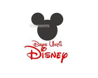 Days Until Disney with Chalkboard Mickey/Minnie - Vinyl Wall Art