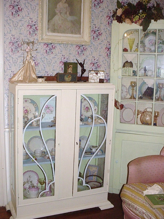 items similar to vintage art deco china cabinet glass doors repainted shabby chic cottage fret. Black Bedroom Furniture Sets. Home Design Ideas