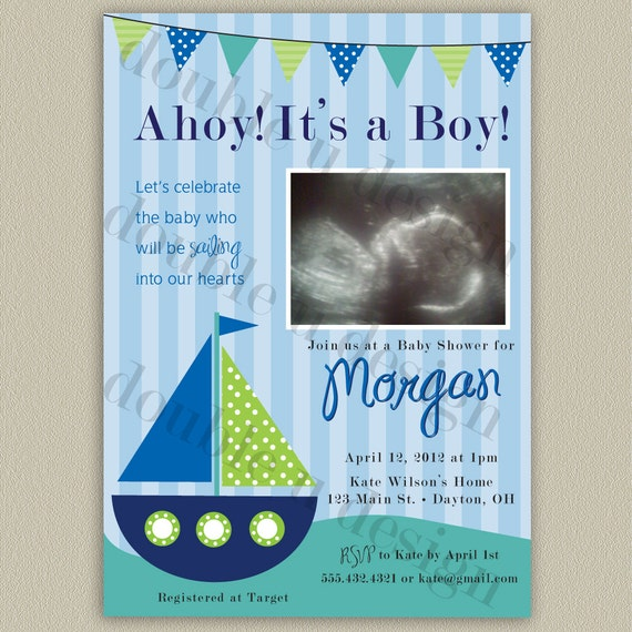 ahoy it 39 s a boy nautical baby shower invitation with photo