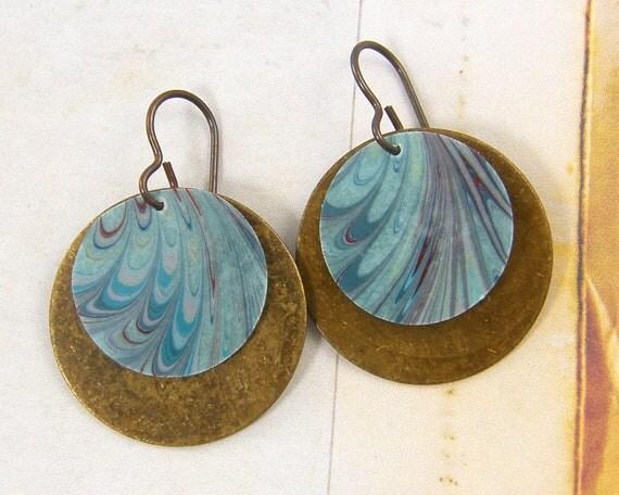 Paper Earrings - Blue Brown Earrings - Swirl Brass Circle Dangle Jewelry