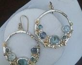 Aquamarine & Sapphire Earrings