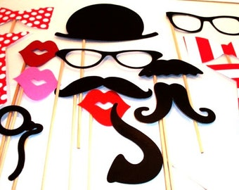 Photo Booth Props - Photo Props - Wedding Photo props - Set of 15 - Pink Hipster  Set