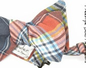Self-tie Wedding Mens Bow Tie Ghosts - Plaid red, yellow blue plaid bowtie