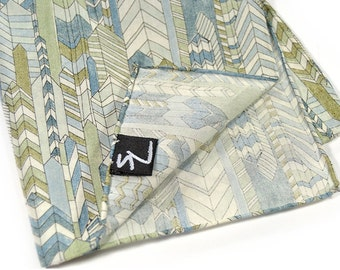 Mens Pocket Square Shades of Blue and arrows