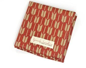 Mens Pocket Square Red and Cream Japanese Arrows- Kagemusha