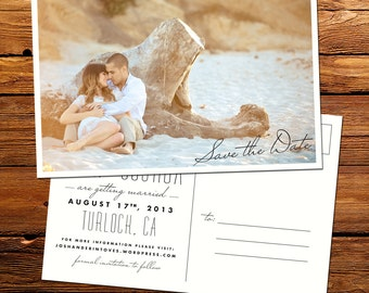 Custom Vintage Modern Photo Save the Date Postcard