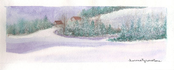 Snowy, landscape, watercolor, Print of Original Watercolor...To Grandmother's House We Go