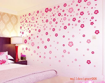 Vinyl Wall decal,wall Decor, baby decal nursery decal kids decal pink flower decal wall art wall sticker,room decor girl-  200pieces flowers