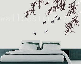 Vinyl Wall Decal Wall Sticker Art - birds with bamboo