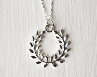 Olympic Necklace- Olympics Wreath 2012 Jewelry- Silver Plated Wreath- 925 Sterling Silver Chain