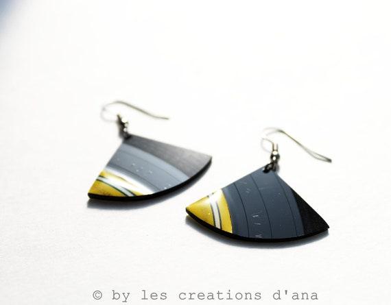 modern recycled record earrings, black and yellow earrings, fan earrings, contemporary jewelry, vinyl record jewelry, resin earrings, funky