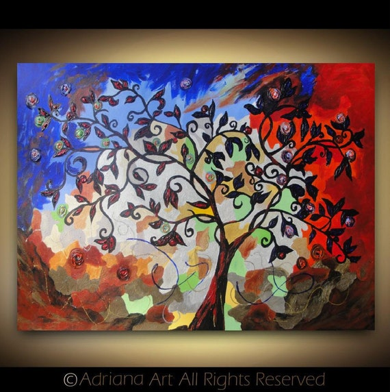 """ORIGINAL Landscape Painting 40""""x 30"""" Abstract Tree Painting - Contemporary Red Blue Palette Knife Textured Wall Art on Stretched Canvas"""