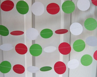 Christmas Garland, Red Green and White Paper Garland, Paper Garland, Holiday Garland, Christmas Decorations, Holly Decorations