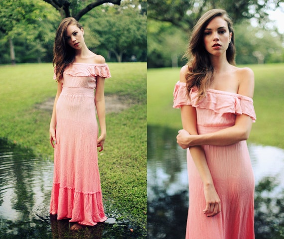 Vintage 1970s Salmon Pink Ombre Off The Shoulder Maxi