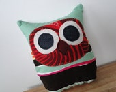 Owl plush or pillow, Huuu in Sea Foam