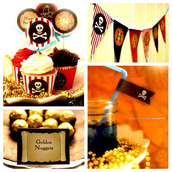 Pirate Party - Party Pack - INSTANT DOWNLOAD - Printable PDF with Editable Text