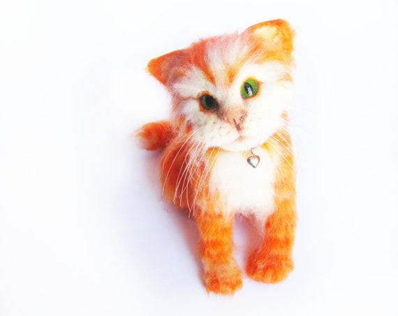 Needle Felted Ginger Kitten life sized. Autumn Colors.