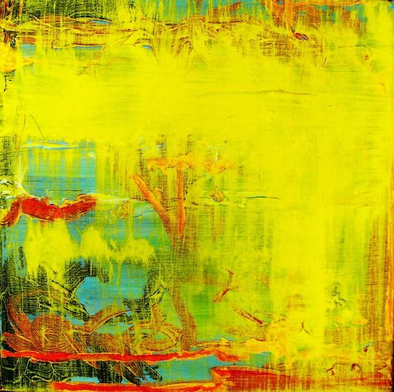 abstract painting yellow blue red black fall aqua autumn water ocean sun