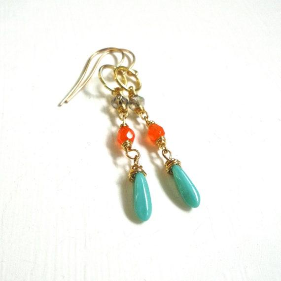 Teal Orange Earrings - Skinny Color Block Dangle Earrings