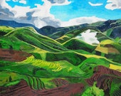 "Vietnam Mountains. Landscape. Oil on Canvas. 16"" x 20"". Oil Landscape."