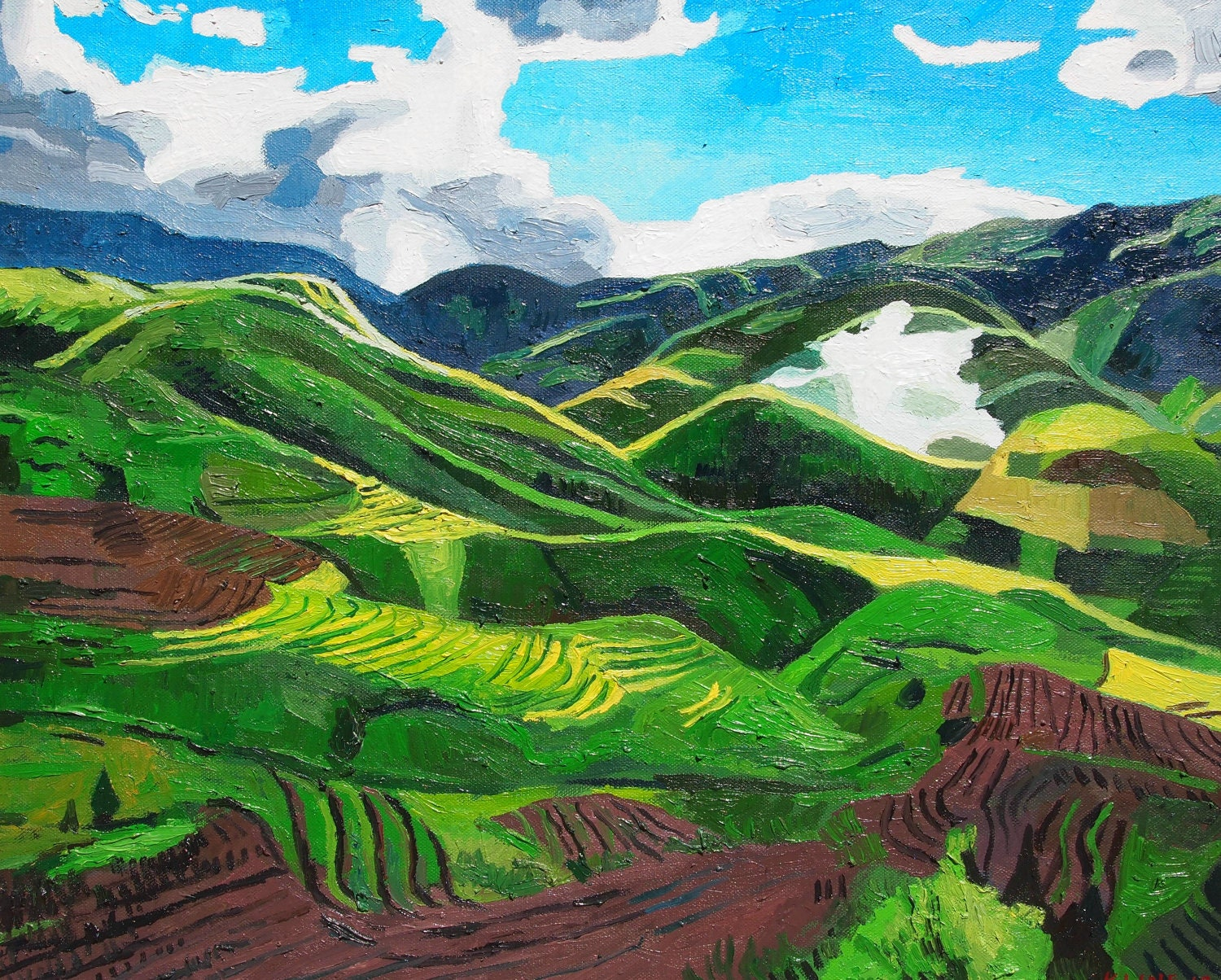 Vietnam mountains landscape oil on canvas 16 x for Landscape pictures