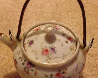 Japanese Bamboo Handled Hand Painted Individual Floral Teapot