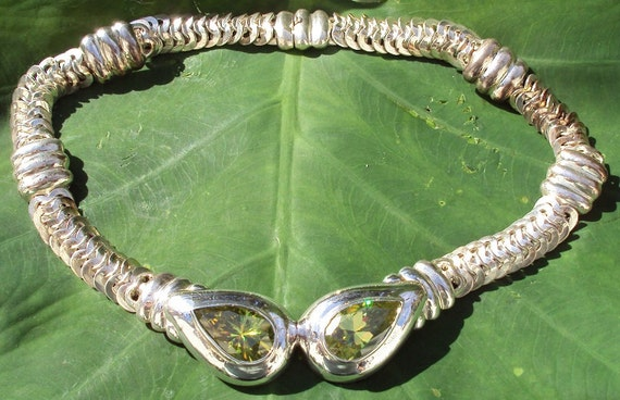 Vintage Heavy Solid Sterling Silver Necklace with Huge Peridot CZ