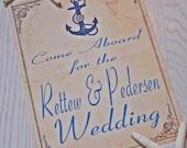 Nautical Wedding Sign Achor Sailor CUSTOMIZABLE. Rustic Vintage Beach Yacht Club Weddings or Events Sign Decoration