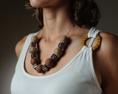 Felt Necklace Chunky Beaded Brown Necklace / Statement Necklace Autumn Jewelry