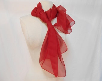Crimson Red Semi Sheer Chiffon Long Scarf/ 59 x 19.5""