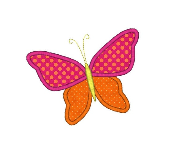 Whimsy butterfly applique machine embroidery design